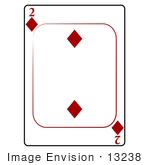 #13238 2 Of Diamonds Playing Card Clipart
