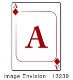 #13239 Ace Of Diamonds Playing Card Clipart