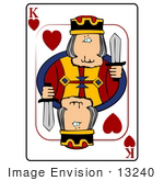 #13240 Playing Card Of The King Of Hearts Holding A Sword Clipart