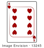#13245 8 Of Hearts Playing Card Clipart