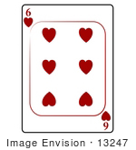 #13247 6 Of Hearts Playing Card Clipart