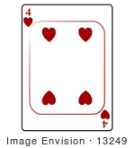 #13249 4 Of Hearts Playing Card Clipart