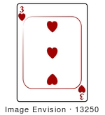 #13250 3 Of Hearts Playing Card Clipart