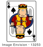 #13253 Playing Card of the King of Spades Holding a Sword Clipart by DJArt