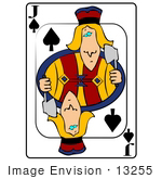 #13255 Playing Card of the Jack of Spades Holding an Axe Clipart by DJArt