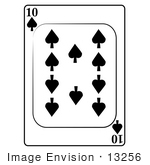 #13256 10 Of Spades Playing Card Clipart