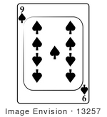 #13257 9 Of Spade Playing Card Clipart