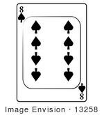 #13258 8 Of Spade Playing Card Clipart