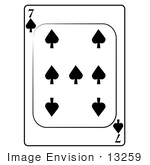 #13259 7 Of Spade Playing Card Clipart