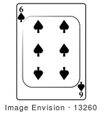 #13260 6 Of Spade Playing Card Clipart