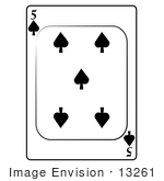 #13261 5 Of Spade Playing Card Clipart