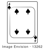 #13262 4 Of Spade Playing Card Clipart