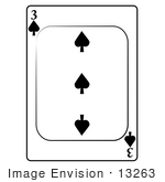 #13263 3 Of Spade Playing Card Clipart