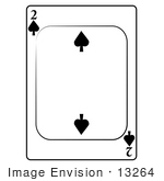 #13264 2 Of Spade Playing Card Clipart