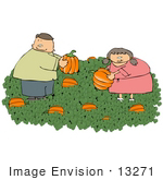 #13271 Brother And Sister Caucasian Children In A Halloween Pumpkin Patch Clipart