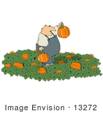 #13272 Middle Aged Caucasian Man In A Halloween Pumpkin Patch Clipart