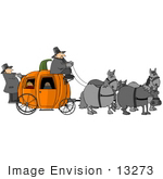 #13273 Children Riding In A Halloween Pumpkin Carriage Clipart