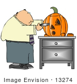 #13274 Middle Aged Caucasian Business Man Carving A Halloween Pumpkin Clipart