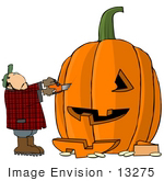 #13275 Middle Aged Caucasian Man Carving A Halloween Pumpkin With A Chainsaw Clipart