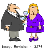 #13276 Middle Aged Caucasian Couple At A Party Clipart
