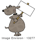 #13277 Dog Holding A Blank Sign Clipart