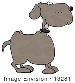 #13281 Profile Of A Dog With Its Tongue Hanging Out Clipart