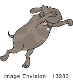 #13283 Dog Jumping Clipart