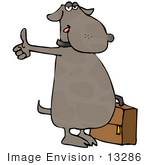 #13286 Brown Dog With Suitcase Hitching A Ride Clipart