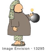 #13295 Terrorist Man Holding a Bomb With a Lit Fuze Clipart by DJArt