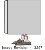 #13297 Box With Feet Clipart