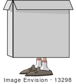 #13298 Box With Feet Clipart