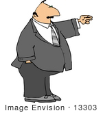 #13303 Caucasian Business Man Pointing Clipart