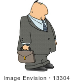 #13304 Caucasian Business Man Carrying A Briefcase Clipart