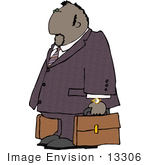 #13306 African American Business Man Carrying Luggage Clipart by DJArt