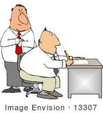 #13307 Man Working At A Desk With His Angry Boss Clipart