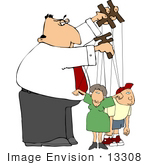 #13308 Puppeteer Boss Controlling His Employees Clipart by DJArt