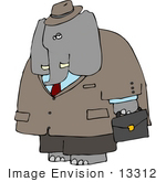 #13312 Elephant A Business Suit Clipart