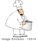 #13314 Caucasian Chef Man Holding A Stock Pot Clipart