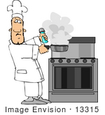 #13315 Chef Holding A Smoking Frying Pan Clipart