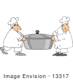 #13317 Two Chef'S Carrying A Pot Clipart