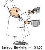 #13320 Sauce Chef Making Sauce Clipart