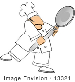 #13321 Caucasian Chef Man Holding A Large Spoon Clipart