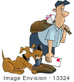 #13324 Caucasian Mail Man Being Bitten By A Dog Clipart