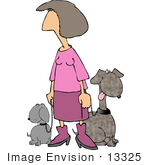 #13325 Woman In Pink Walking Two Dogs Clipart