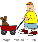 #13326 Boy Pulling A Teddy Bear In A Red Wagon Clipart