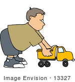#13327 Little Caucasian Boy Playing With A Dump Truck Clipart
