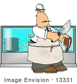 #13331 Middle Aged Caucasian Butcher Man At Work Clipart