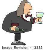#13332 Man Serving Wine Clipart