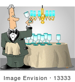 #13333 Middle Aged Caucasian Butler Man Shining Glasses Clipart