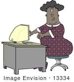 #13334 Middle Aged African American Woman Typing On A Computer Clipart